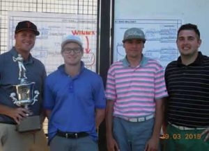 Champs Andrew and Austin Roberts, with runners-up Jason Herrera, Wes Sandroni